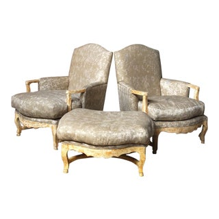 20th Century French Country Bergere Armchairs With Ottoman - 3 Pieces For Sale