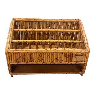 Mid Century Vintage Tortoise Rattan 3 Tiered Letter Holder For Sale