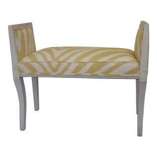 Vintage Gustavian Whitewashed Silk Upholstered Window Bench For Sale
