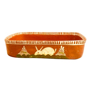 Vintage Mexican Tlaquepaque Redware Bowl With Painted Rabbits For Sale