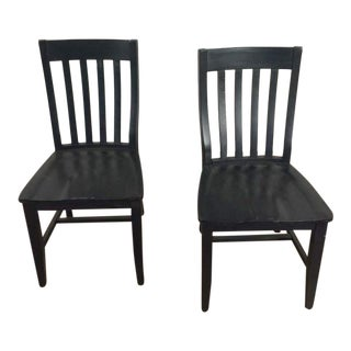 Pottery Barn Black Painted Wood Side Chairs - a Pair