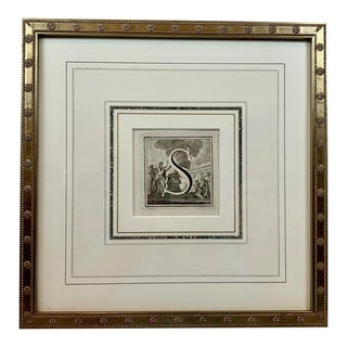 """The Letter """"S"""" Engraved by L. Vanvitelli, C. 1771 With French Mat For Sale"""