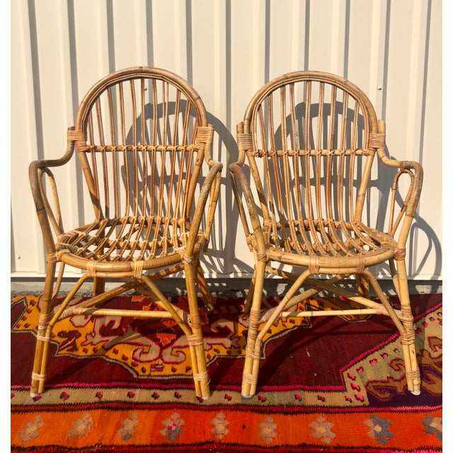 Albini Style Bamboo Rattan Bistro Chairs- a Pair For Sale - Image 13 of 13