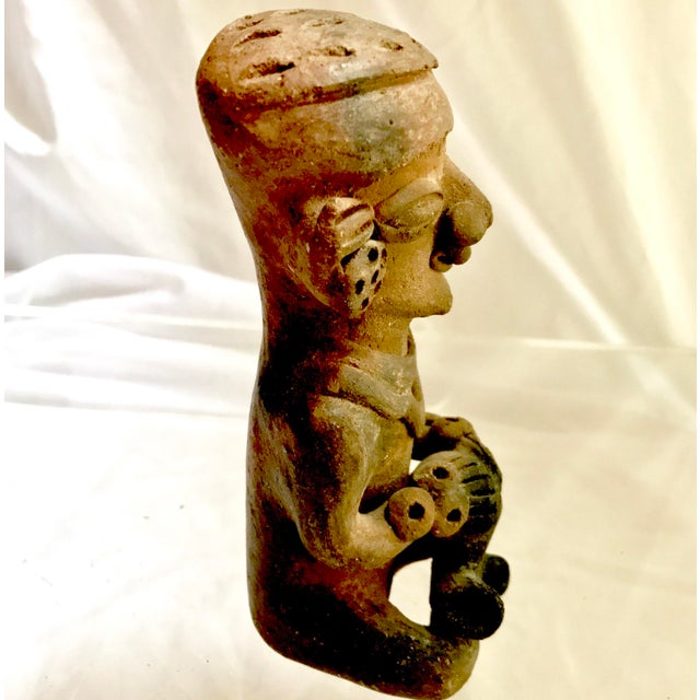Pre-Columbian Mayan or Aztec Seated Terracotta Figurine - Image 6 of 7
