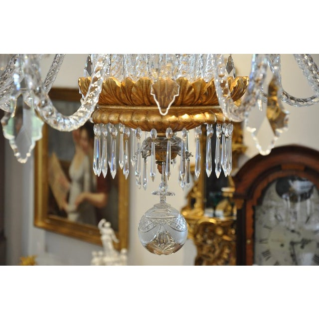 Mid 20th Century Neoclassical Glass and Gilt Italian Murano or Genoese Chandelier For Sale - Image 5 of 6