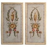 Image of Pair of Antique Painted Canvas Window Panels For Sale