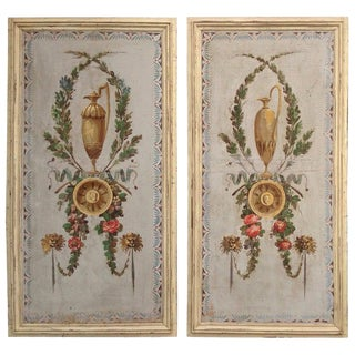 Pair of Antique Painted Canvas Window Panels For Sale