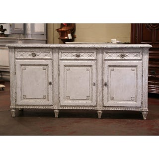19th Century French Louis XVI Painted Three-Door Buffet With Faux Marble Top Preview