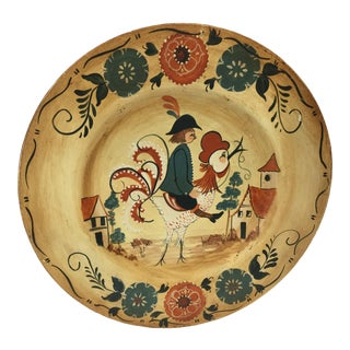 Vintage Hand Painted Tole Wood Plate For Sale