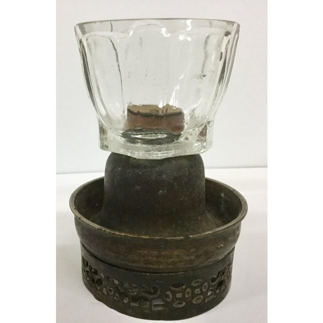 Antique Bronze & Glass Oil Lantern For Sale - Image 13 of 13