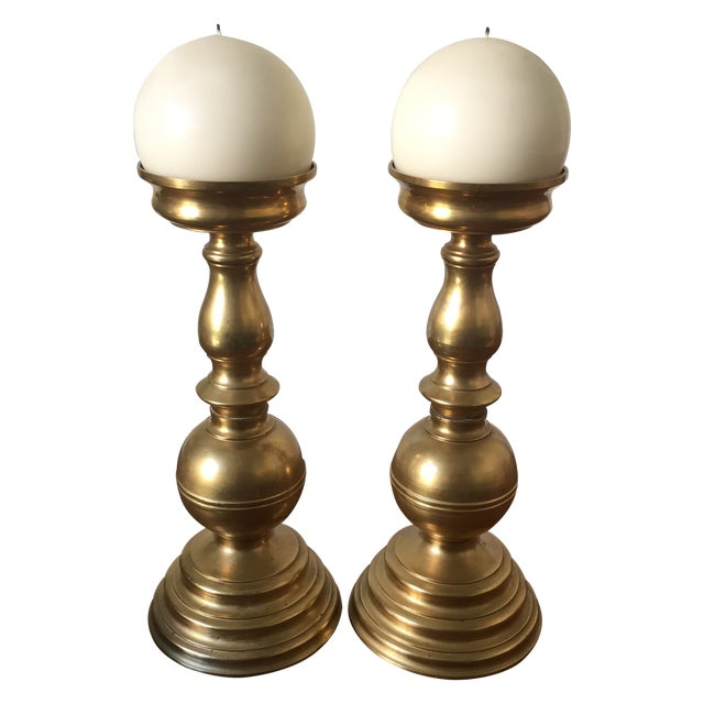 Brass Candlesticks with White Candles - A Pair - Image 1 of 6