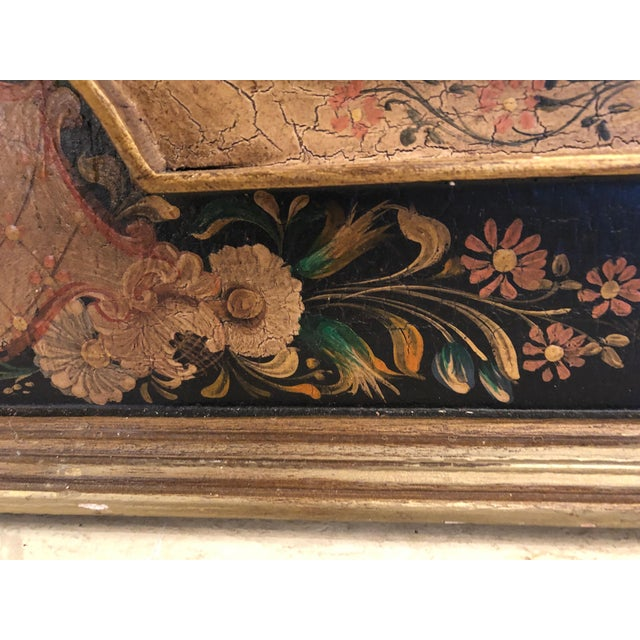 Black Venetian Hand Painted Rectangular Mirror For Sale - Image 8 of 10
