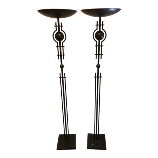 Vintage Iron Framed Torchiere Halogen Floor Lamps - A Pair For Sale