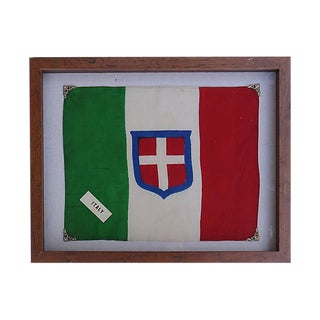 1940s Royal Sardinian Army Silk Flag For Sale