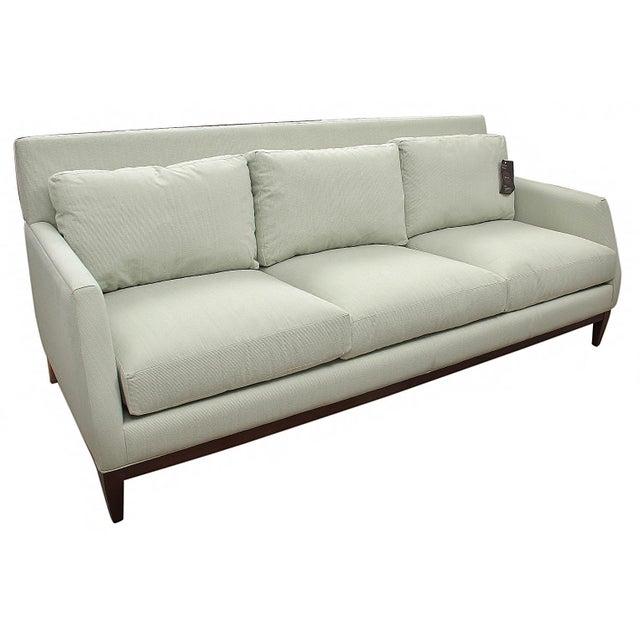 New Mid-Century Modern Style Robert Allen Hand-Built Custom Pale Green Sofa