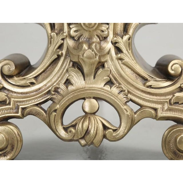 Antique French Rococo Solid Bronze Andirons - a Pair For Sale - Image 4 of 13