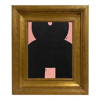 Ron Giusti Mini Kokeshi Doll Head Blush Painting, Framed For Sale