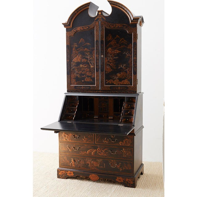 English Chinoiserie Style Lacquered Parcel-Gilt Secretary For Sale - Image 9 of 12