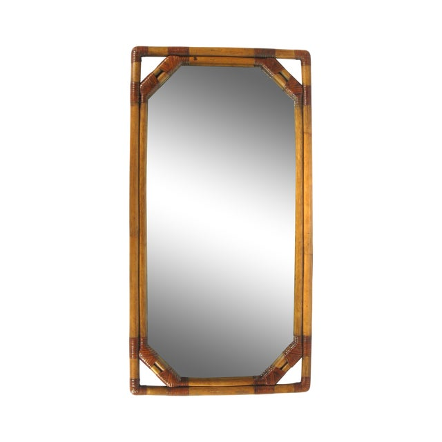 Vintage Drexel Heritage Bamboo & Leather Mirror - Image 1 of 6