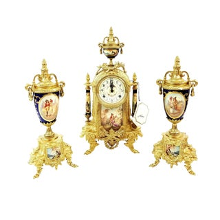Vintage Italian Lancini Fhs Hermle Brass Porcelain Ormolu Clock Set-3 Piece For Sale