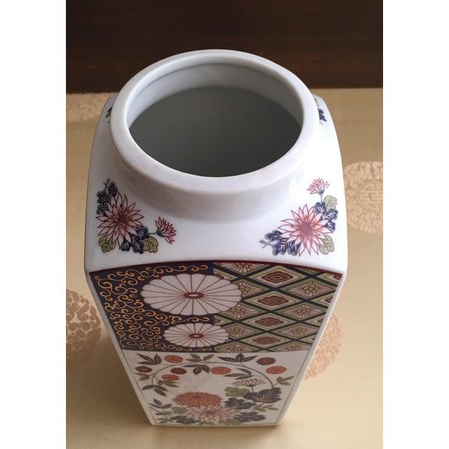 Ceramic Vintage Flower Plaid Art Design Vase For Sale - Image 7 of 10