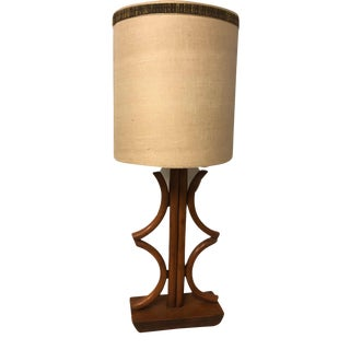 Mid-Century Modern Bentwood Bamboo Lamp With Shade For Sale