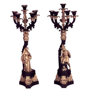 Pair of French 'Victorian' Bronze Doré Five-Arm Candelabra For Sale