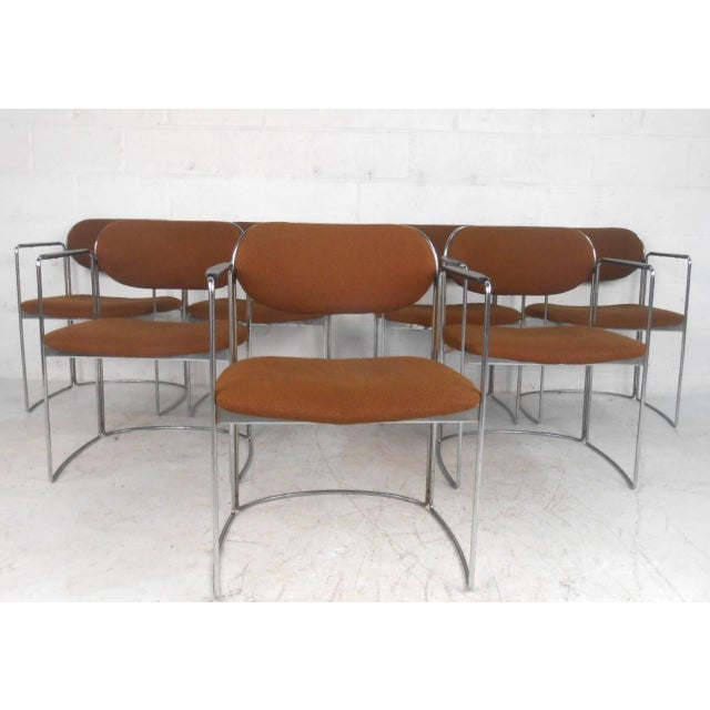 Mid-Century Chrome & Upholstery Office Armchairs - Set of 7 - Image 2 of 10