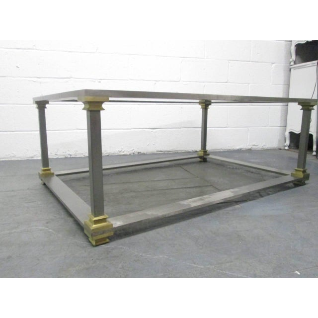 Brushed Steel and Brass Coffee Table For Sale - Image 4 of 7