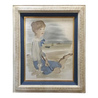 """Original Philippe Henri Noyer """"Lady Sitting on Beach With Boats in Harbor"""", 1964 For Sale"""