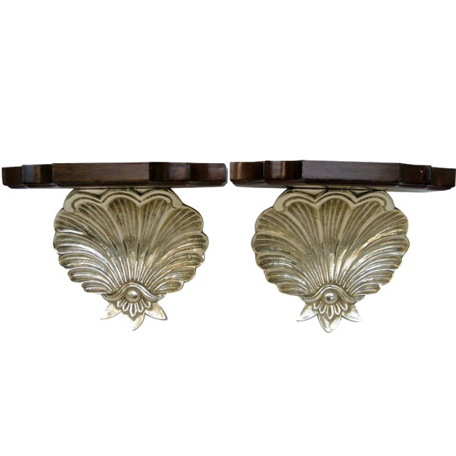 Brass & Wood Shell Shaped Wall Brackets - A Pair - Image 1 of 7