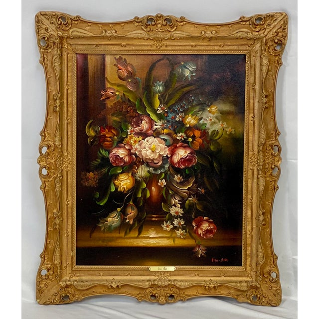 Shabby Chic Vintage Chelsea House Floral Oil Painting For Sale - Image 3 of 3