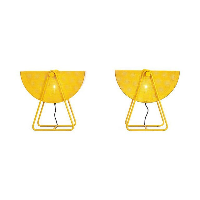 Metal Bieffeplast Yellow Table Lamps With Adjustable Shades, 1970s For Sale - Image 7 of 8