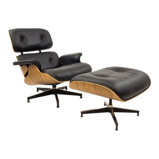 Eames for Herman Miller Mid Century Lounge Chair in Walnut With Ottoman