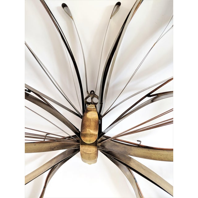 1970s Curtis Here 1974 Mid-Century Modern Brass Butterfly Wall Sculpture For Sale - Image 5 of 13