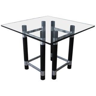 1970s Ebonized Wood and Chrome Table Base For Sale