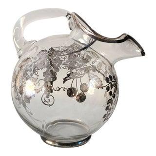 Vintage Sterling Silver Overlay Glass Pitcher