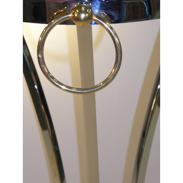 Maison Jansen Empire Style Chrome and Brass Pedestal Table For Sale - Image 10 of 12