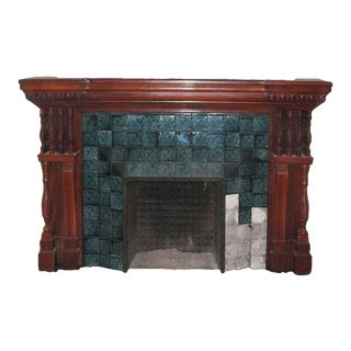Carved Mahogany & Tile Mantel For Sale