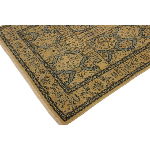 Contemporary Semi Antique Istanbul Gaye Tan/Teal Turkish Hand-Knotted Rug -4'8 X 7'0 For Sale - Image 3 of 8