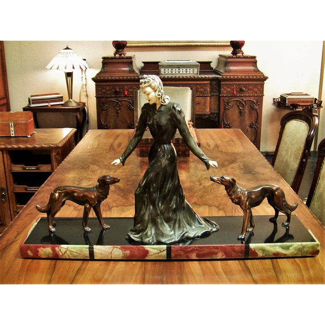 Large Art Deco Sculpture of Bronze Lady With Dogs on Marble Base - Impressive and Important For Sale - Image 11 of 11