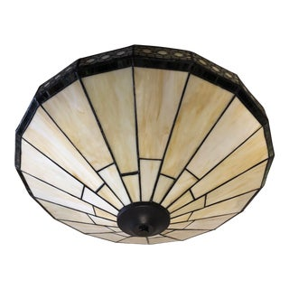 Arts and Crafts Style Stained Glass Flush-Mount Ceiling Shade For Sale