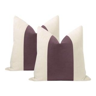 "22"" Smokey Amethyst Italian Velvet Panel & Linen Pillows - a Pair For Sale"
