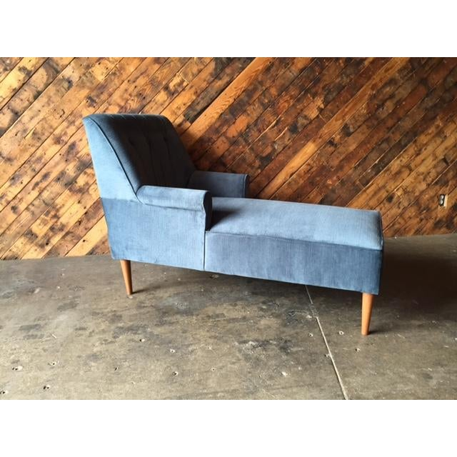 Mid Century Reupholstered Tufted Extended Lounge Chair - Image 7 of 7