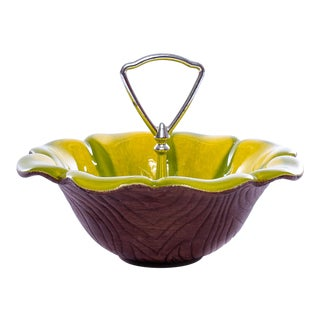 Vintage Avocado and Yellow Ceramic Silver Handled Candy Dish For Sale