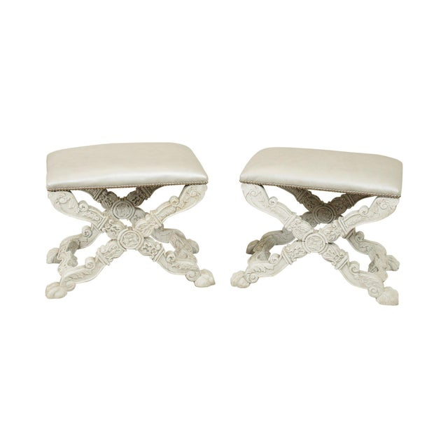 Italian Baroque Style Carved White Painted X Stools, Benches - a Pair For Sale - Image 13 of 13