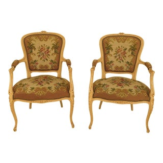 French Louis XV Style Needlepoint Armchairs - A Pair
