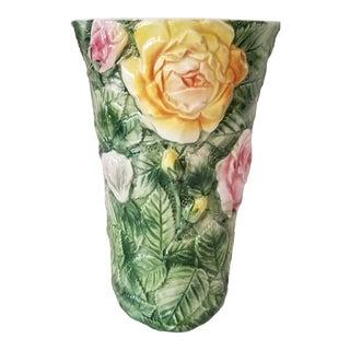 Vintage Italian Majolica Earthenware Floral Vase For Sale