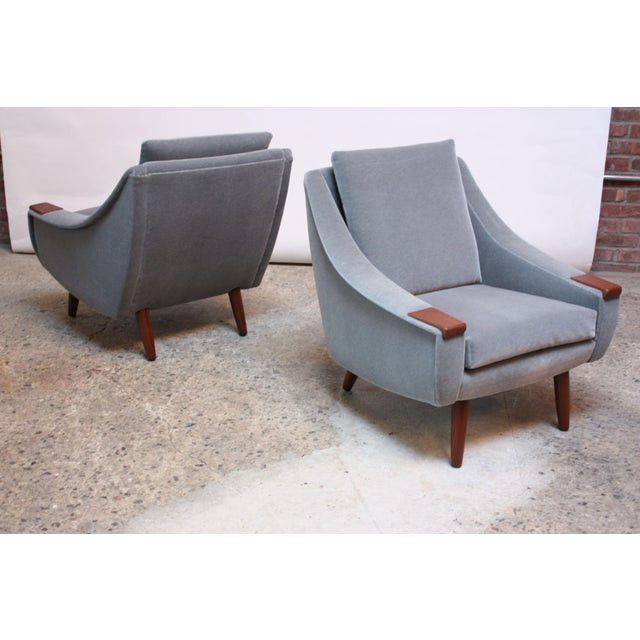 1960s Pair of Danish Modern Teak and Mohair Lounge Chairs For Sale - Image 5 of 11