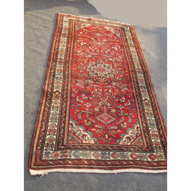 Vintage Red Floral Wool Persian Rug - 3′1″ × 6′1″ - Image 6 of 11